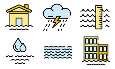 Flood icons set. Outline set of flood vector icons thin line color flat on white