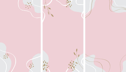 Set of abstract girly backgrounds for social media