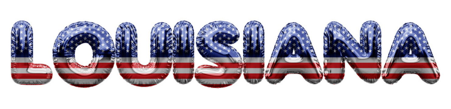 Louisiana USA state stars and stripes foil balloon word. 3D Rendering