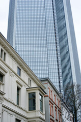 Architecture in buildings in downtown Frankfurt Main, Germany, residential buildings and office building