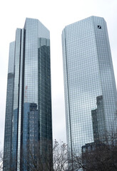 Frankfurt Main, Germany 03-11-2013 bank towers in downtown with sign of the German Bank