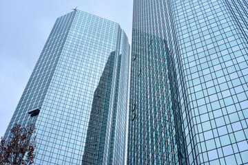 Skyscrapers in Frankfurt Main, Germany, glas front architecture background