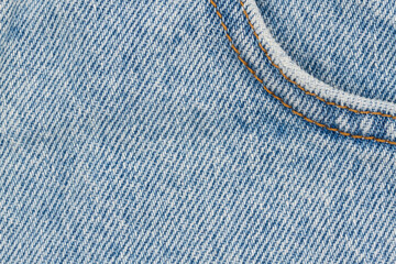 Blue jeans denim material with stiches background