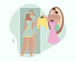 Personal fashion stylist choose outfits for female client, online teleport