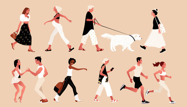 Crowd of tiny people wearing stylish clothes. Fashionable men and women, summer outdoor activities. Group of male and female cartoon characters walking dog, dancing, running. Flat vector illustration.