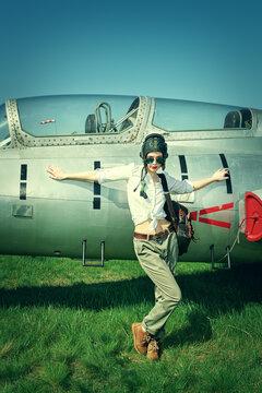 fashionable woman pilot