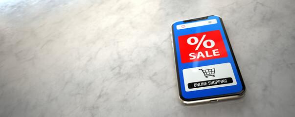 Foto op Plexiglas Hoogte schaal Smartphone Sale Online Shopping