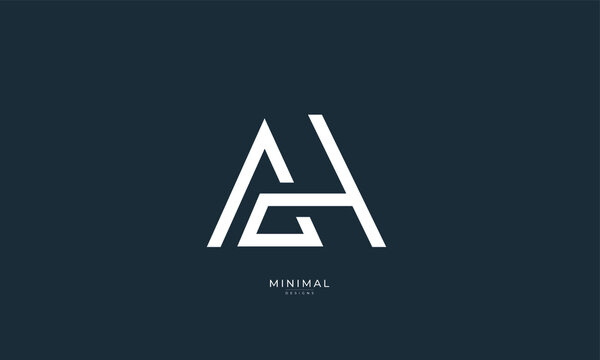 Alphabet letter icon logo AH
