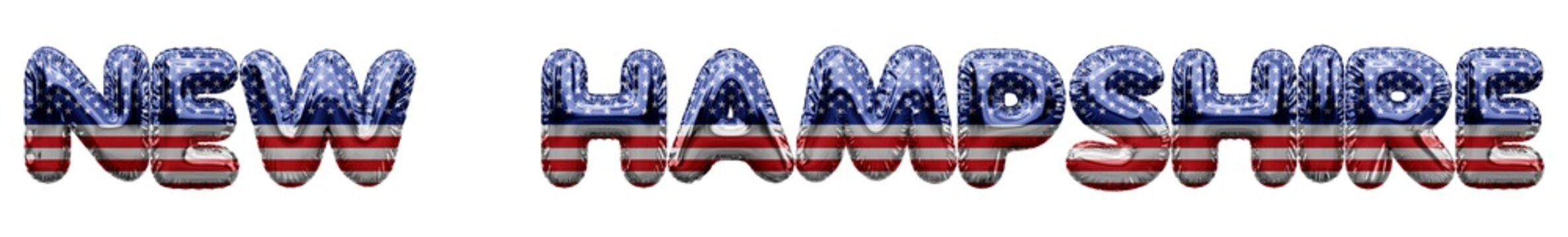 New Hampshire USA state stars and stripes foil balloon word. 3D Rendering