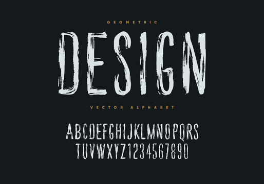 Grunge font design. Hand drawn style geometric alphabet and numbers. Eps10 vector.