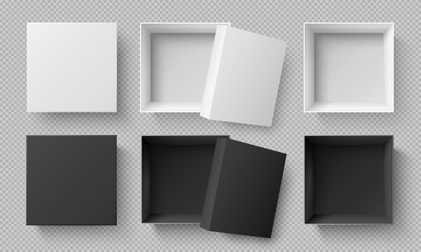 Top view white and black boxes. Realistic 3d cardboard mockup isolated on transparent background. Carton or paper square empty package with open and closed cap. Gift box or container vector set