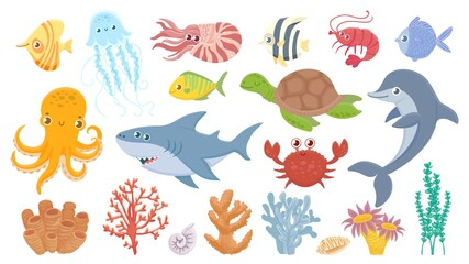 Cartoon sea life. Cute sea fish, aquatic corals, jellyfish and octopus. Funny shark and dolphin. Ocean crab, sea turtle and shrimp vector illustration set. Marine life with creatures seagrass or algae