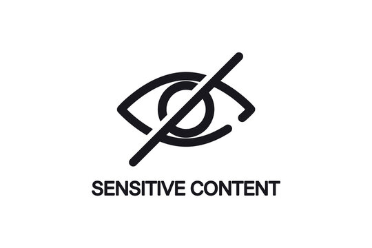 Eye. Sensitive content sign. nappropriate content. Censored view icon. Internet safety concept, inappropriate content. Only adult 18 plus