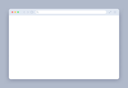 Browser window. Blank web interface mock screen internet webpage mockup. Website blank frame tab page elements vector template. Empty network page with border and icons for computer, laptop.