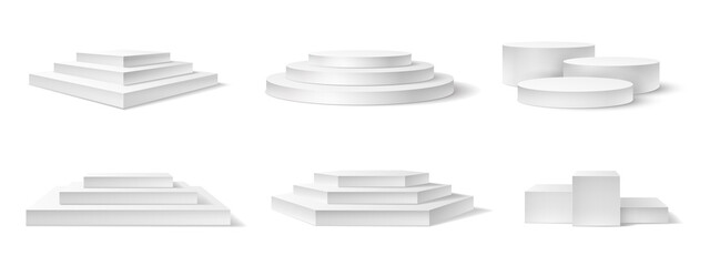 Fototapeta Realistic podium. White 3d empty podiums, pedestal and platform different shapes for award ceremony, concert advertising product vector set. Square, round white stage with stairs for top