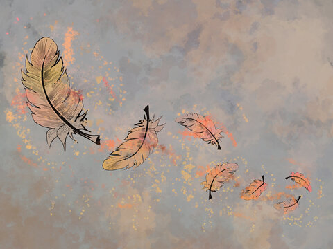 Feather autum poster or wallpaper - brown and grey colored background and yellow and orange feathers or leaves