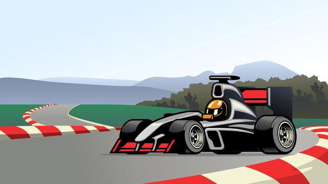 racing formula car on the circuit track