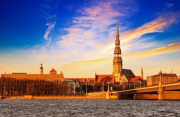 Tuinposter Noord Europa Riga sunset, Latvia