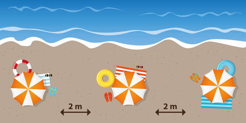 tourist beach holiday with a safe distance vector illustration EPS10