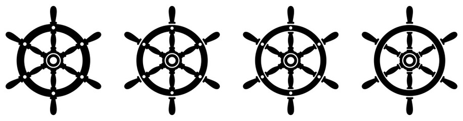 Ship steering wheel set. Boat steering wheels. Vector