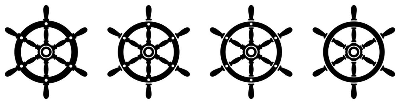 Ship steering wheel set. Boat steering wheels. Vector