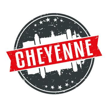 Cheyenne Wyoming Round Travel Stamp Icon Skyline City Design.