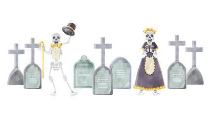 Foto auf Acrylglas Aquarell Schädel 骸骨カップルとお墓の水彩イラスト