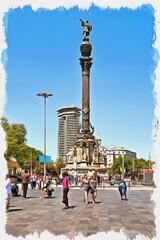Barcelona. Monument to Christopher Columbus. Imitation of oil painting. Illustration