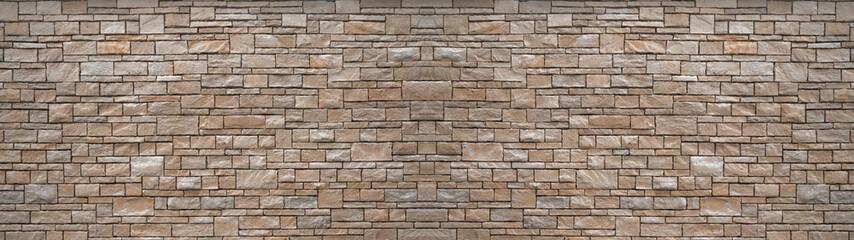 Natural gray grey brown stone brick wall texture background banner panoramic panorama