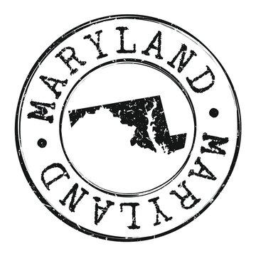 Maryland Silhouette Postal Passport Stamp Round Vector Icon Design.