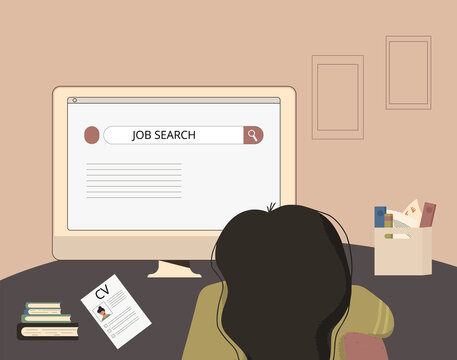 Job search. Dismissed young woman sitting and read a website about vacancy. student need part time work. Vector flat illustration.