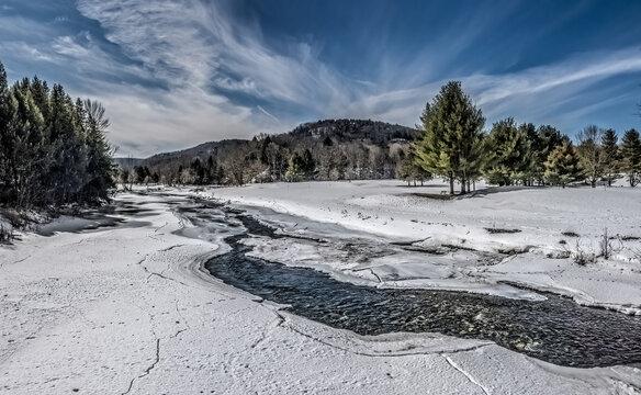 Quechee,Vermont Ottauquechee river Spring thaw