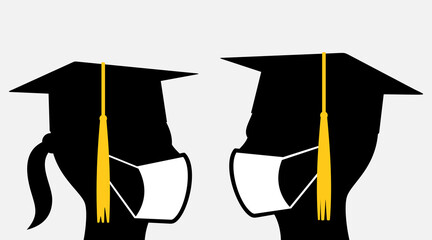 Young people with graduation caps and face masks