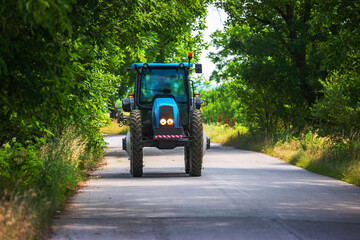 Farming tractor on the road