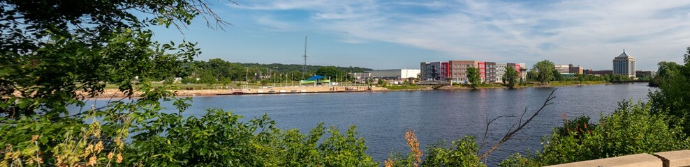 Wausau, Wisconsin, USA, July 1, 2020, Wausau Riverfront in downtown Wausau next to the Wisconsin River