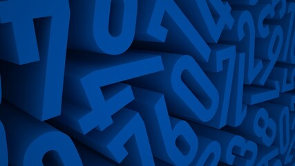 Blue Numbers, 3D Render, Abstract Design Fotomurales