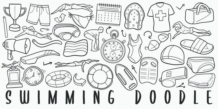 Swimming Pool Sport Doodle Line Art Illustration. Hand Drawn Vector Clip Art. Banner Set Logos.
