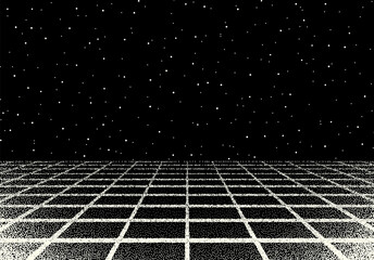 Retro dotwork landscape with 80s styled laser grid and stars background from old sci-fi book or poster