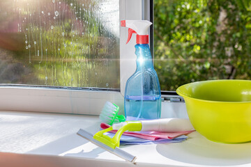 Window cleaning tools and cleaning agent .