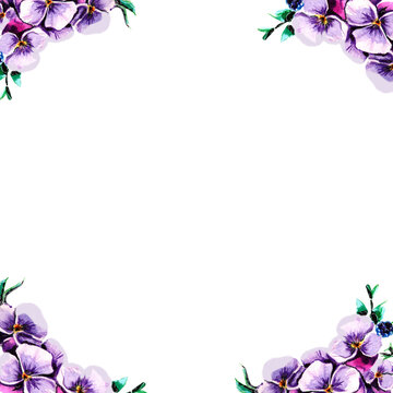 Hand drawn watercolor floral pansies frame. Elegant decorative purple element. Violet romantic flowers, green leaves and blue berries. Retro frame,perfect for wedding or birthday cards, invitations