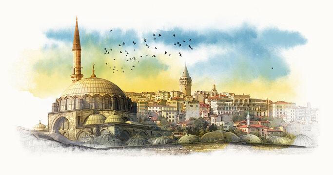 Hagia Sophia. Istanbul, Turkey. Graphical sketch.  Watercolor sketch.
