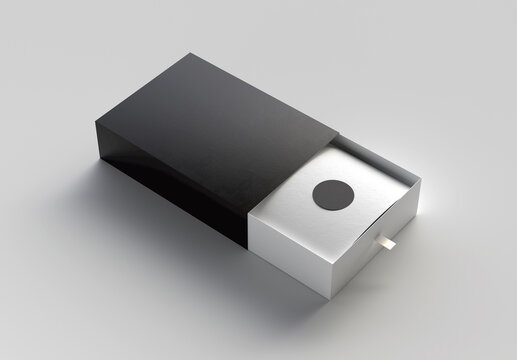 Cardboard Sliding Open Box Mockup. 3d Render