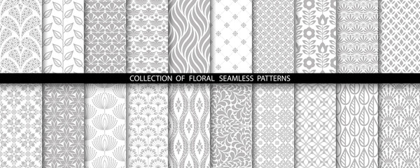 Geometric floral set of seamless patterns. Gray and white vector backgrounds. Simple illustrations.