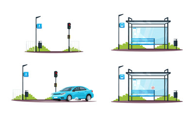 Pedestrian crossing and empty bus stop semi flat RGB color vector illustrations set. Car and traffic light. Public transport sign. Isolated cartoon objects collection on white background