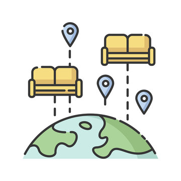 Couchsurfing RGB color icon. Budget tourism. Finding affordable accommodation in travel. Hospitality exchange. World map with couches isolated vector illustration