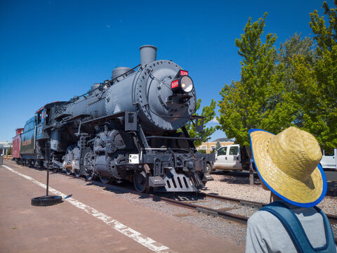 Williams, Arizona USA: Steam locomotive train in the city on Historic Route 66, south terminus of Grand Canyon Railway.