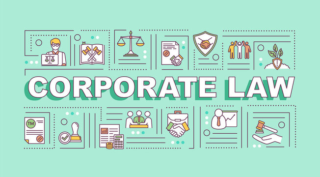 Corporate law word concepts banner. Corporation governance. Infographics with linear icons on light aquamarine background. Isolated typography. Vector outline RGB color illustration