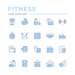 Set color line icons of fitness