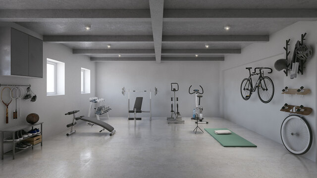 Private hotel home gym in basement showcase. Light sport room with gym equipment storage rendering