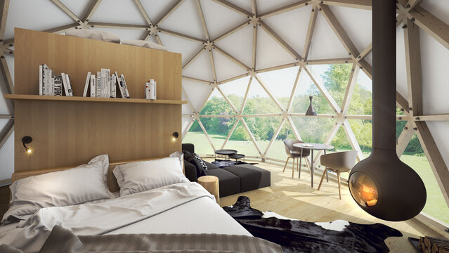 Geodesic dome tent as hotel. Fabric and wood framed yurt structures for, luxurious, upscale glamping